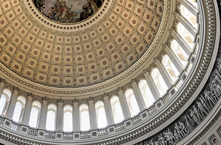 the Capitol's ornate ceiling